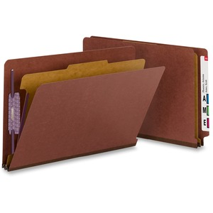 Smead 29855 Red End Tab Pressboard Classification Folders with SafeSHIELD Fasteners SMD29855