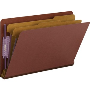 Smead 29860 Red End Tab Pressboard Classification Folders with SafeSHIELD Fasteners SMD29860