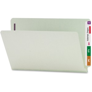 Smead 37705 Gray/Green End Tab Pressboard Fastener File Folders with SafeSHIELD Fasteners SMD37705