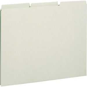 Smead 50334 Gray/Green Pressboard Guides with Blank Tab SMD50334