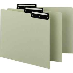 Smead 50534 Gray/Green Pressboard Guides with Blank Tab SMD50534