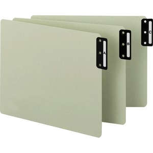 Smead 61676 Gray/Green 100% Recycled Extra Wide End Tab Pressboard Guides with Vertical Metal Tab SMD61676