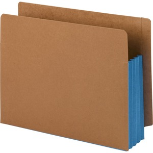 Smead 73679 Blue Extra Wide End Tab File Pockets with Reinforced Tab and Colored Gusset SMD73679