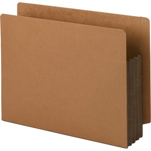 Smead 73681 Dark Brown Extra Wide End Tab File Pockets with Reinforced Tab and Colored Gusset SMD73681