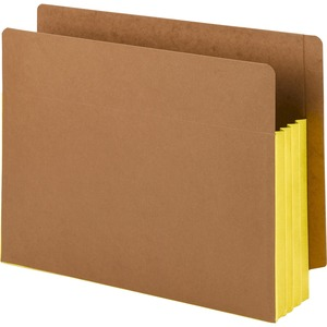 Smead 73688 Yellow Extra Wide End Tab File Pockets with Reinforced Tab and Colored Gusset SMD73688