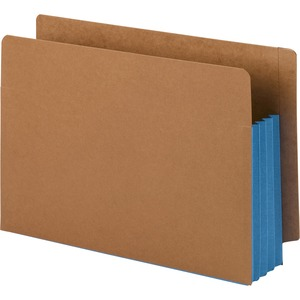 Smead 74679 Blue Extra Wide End Tab File Pockets with Reinforced Tab and Colored Gusset SMD74679