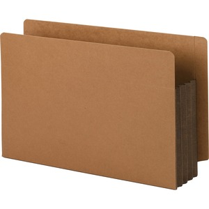 Smead 74681 Dark Brown Extra Wide End Tab File Pockets with Reinforced Tab and Colored Gusset SMD74681