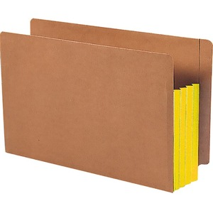 Smead 74688 Yellow Extra Wide End Tab File Pockets with Reinforced Tab and Colored Gusset SMD74688
