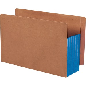 Smead 74689 Blue Extra Wide End Tab File Pockets with Reinforced Tab and Colored Gusset SMD74689