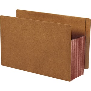 Smead 74691 Dark Brown Extra Wide End Tab File Pockets with Reinforced Tab and Colored Gusset SMD74691