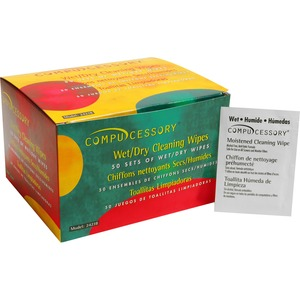 Compucessory Wet and Dry Cleaning Wipes CCS24218