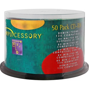 Compucessory CD Rewritable Media - CD-RW - 12x - 700 MB - 50 Pack CCS72102