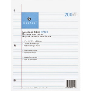 Sparco Notebook Filler Paper SPR82120