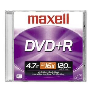 Maxell DVD Recordable Media - DVD+R - 16x - 4.70 GB - 1 Pack Jewel Case