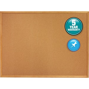 Quartet Oak Frame Bulletin Board with Brackets QRT305