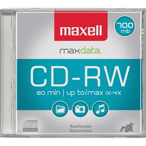 Maxell CD Rewritable Media - CD-RW - 4x - 700 MB - 1 Pack MAX630010