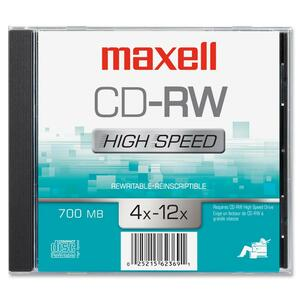 Maxell CD Rewritable Media - CD-RW - 12x - 700 MB - 1 Pack MAX630020