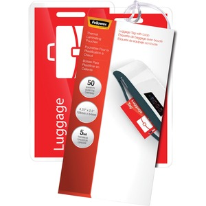Fellowes Glossy Pouches - Luggage Tag with loop, 5mil 50 pack FEL52034