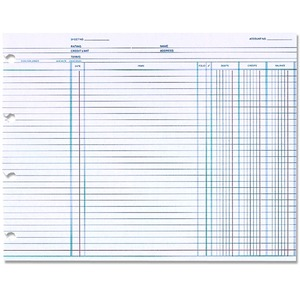 Wilson Jones Balance Ledger Columnar Sheet WLJN1D