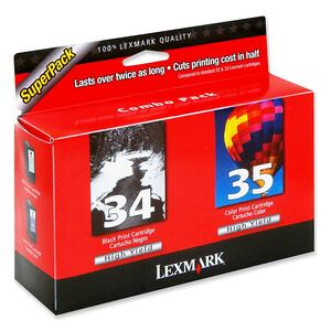 Lexmark No. 34/35 Twin-Pack Black and Color High Yield Ink Cartridge LEX18C0535