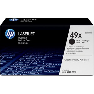 HP 49X (Q5949XD) 2-pack High Yield Black Original LaserJet Toner Cartridges HEWQ5949XD