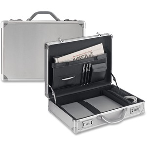 "Solo Classic Carrying Case (Attaché) for 17"" Notebook, Tablet PC, Digital Text Reader - Silver USLAC10010"