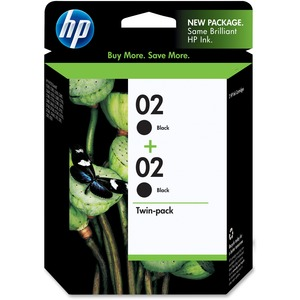HP 02 Twinpack Black Ink Cartridge HEWC9500FN