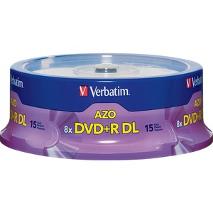 Verbatim 95484 DVD Recordable Media - DVD+R DL - 8x - 8.50 GB - 15 Pack Spindle VER95484