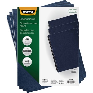 Fellowes Linen Presentation Covers - Oversize Letter, Navy, 200 Pack FEL52113