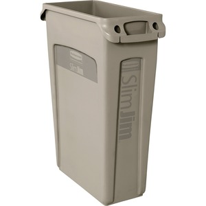Rubbermaid 354060 Slim Jim Waste Container with Venting channel RCP354060BG