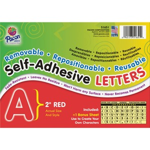 Pacon Colored Self-Adhesive Removable Letters PAC51651