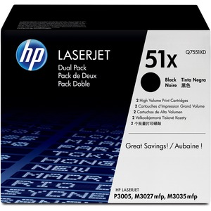 HP 51X (Q7551XD) 2-pack High Yield Black Original LaserJet Toner Cartridges HEWQ7551XD