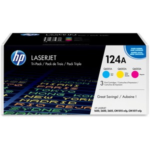 HP 124A (CE257A) 3-pack Cyan/Magenta/Yellow Original LaserJet Toner Cartridges HEWCE257A