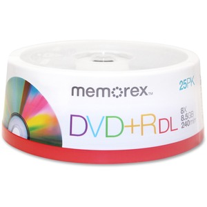 Memorex 05712 DVD Recordable Media - DVD+R DL - 8x - 8.50 GB - 25 Pack Spindle MEM05712