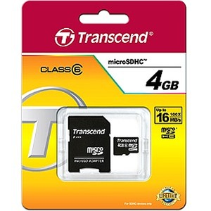 Transcend 4GB microSD High Capacity Card (Class 6)