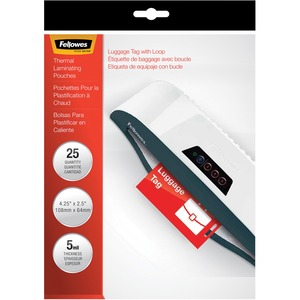 Fellowes Glossy Pouches - Luggage Tag with loop, 5 mil, 25 pack FEL52003