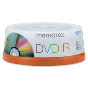 Memorex DVD Recordable Media - DVD-R - 16x - 4.70 GB - 25 Pack Spindle MEM05638