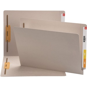 Smead 25849 Gray End Tab Colored Fastener File Folders with Reinforced Tab SMD25849