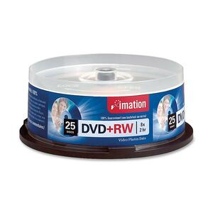 Imation DVD Rewritable Media - DVD+RW - 8x - 4.70 GB - 25 Pack Spindle IMN27134