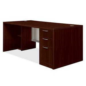 HON Attune Laminate Series Pedestal Desk with Frosted Doors HON11887RGNN