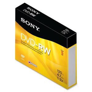 Sony DVD Rewritable Media - DVD-RW - 2x - 4.70 GB - 5 Pack Slim Jewel Case SON5DMW47R2H