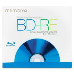 Memorex Blu-ray Rewritable Media - BD-RE - 2x - 25 GB - 1 Pack Jewel Case MEM05502