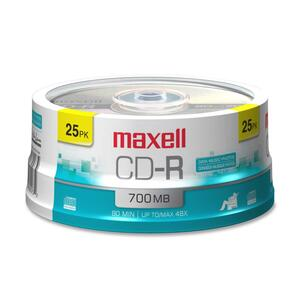 Maxell CD Recordable Media - CD-R - 48x - 700 MB - 25 Pack Spindle MAX648445