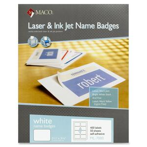 Maco ML-7000 Self-Adhesive Laser/Inkjet Name Badge Labels MACML7000