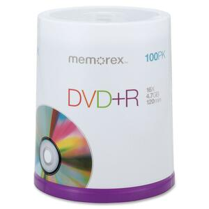 Memorex DVD Recordable Media - DVD+R - 16x - 4.70 GB - 100 Pack Spindle MEM05621