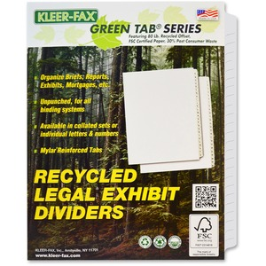 Kleer-Fax 80000 Series Side Tab Index Divider KLF81199