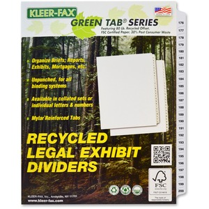 Kleer-Fax 80000 Series Numerical Side Tab Index Divider KLF83176