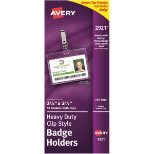 Avery Landscape Badge Holder with Clip AVE2921