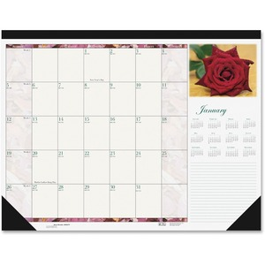 House of Doolittle Rose Desk Pad Calendar HOD179