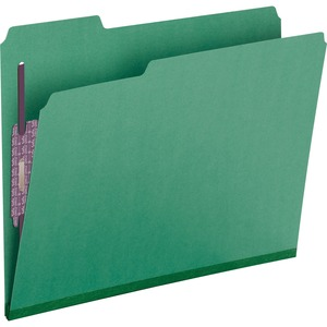 Smead 14938 Green Colored Pressboard Fastener File Folders with SafeSHIELD Fasteners SMD14938